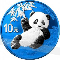 China 10 Yuan 30 g zilver Panda 2020 color- Space Blue Edition 2020
