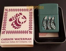 Zippo lighter 2001. CARSON WATERMAN THREE SISTERS. Teal matte Finish. Absolutely amazing and extremely Rare.
