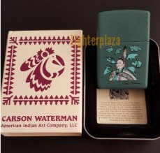 Zippo lighter 2001 ZIPPO POW-WOW DANCER. CARSON WATERMAN DESIGN. Teal Matte finish. Absolutely amazing and extremely Rare.